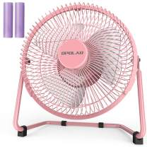 OPOLAR Battery Operated and USB Powered Rechargeable Desk Fan with Two Batteries, 9 Inch Metal Frame, Enhanced Airflow, Lower Noise, Two Speeds, Personal Cooling Fan for Home & Office - Pink