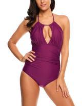 ADOME Women's Peplum Tankini Set Ruffles Halter Tankini Set Push Up Bathing Suit Two Piece Swimsuits