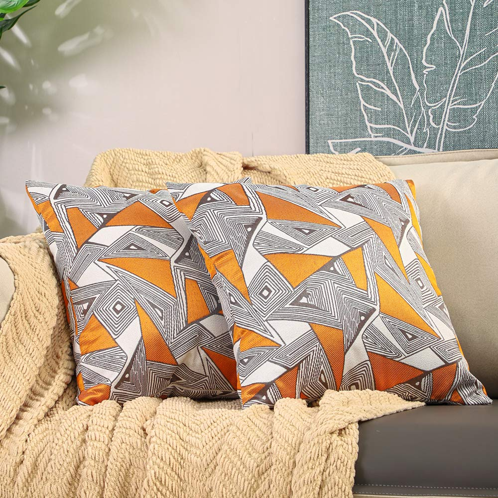 Btyrle Set of 2 Irregular Geometric Throw Pillow Covers 18x18 InchDecorative Modern Pillowcases Square Jacquard Cushion Covers for Couch, Orange,45x45cm