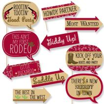 Funny Little Cowboy - Western Baby Shower or Birthday Party Photo Booth Props Kit - 10 Piece