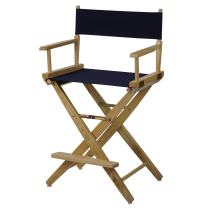 """American Trails Extra-Wide Premium 24"""" Director's Chair Natural Frame with Navy Canvas, Counter Height"""