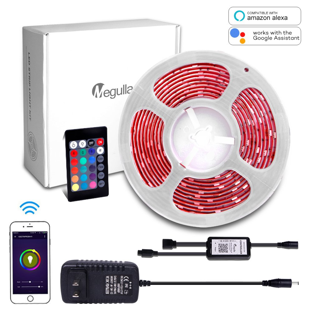 Megulla Waterproof RGB LED Strip Light Kit, Multi-Color LED Rope Lights with Wireless RF Remote and 12V Power Supply for Kitchen, Living Room and Bedroom (16.4ft/5m, RGB Kit (Alexa Compatible))
