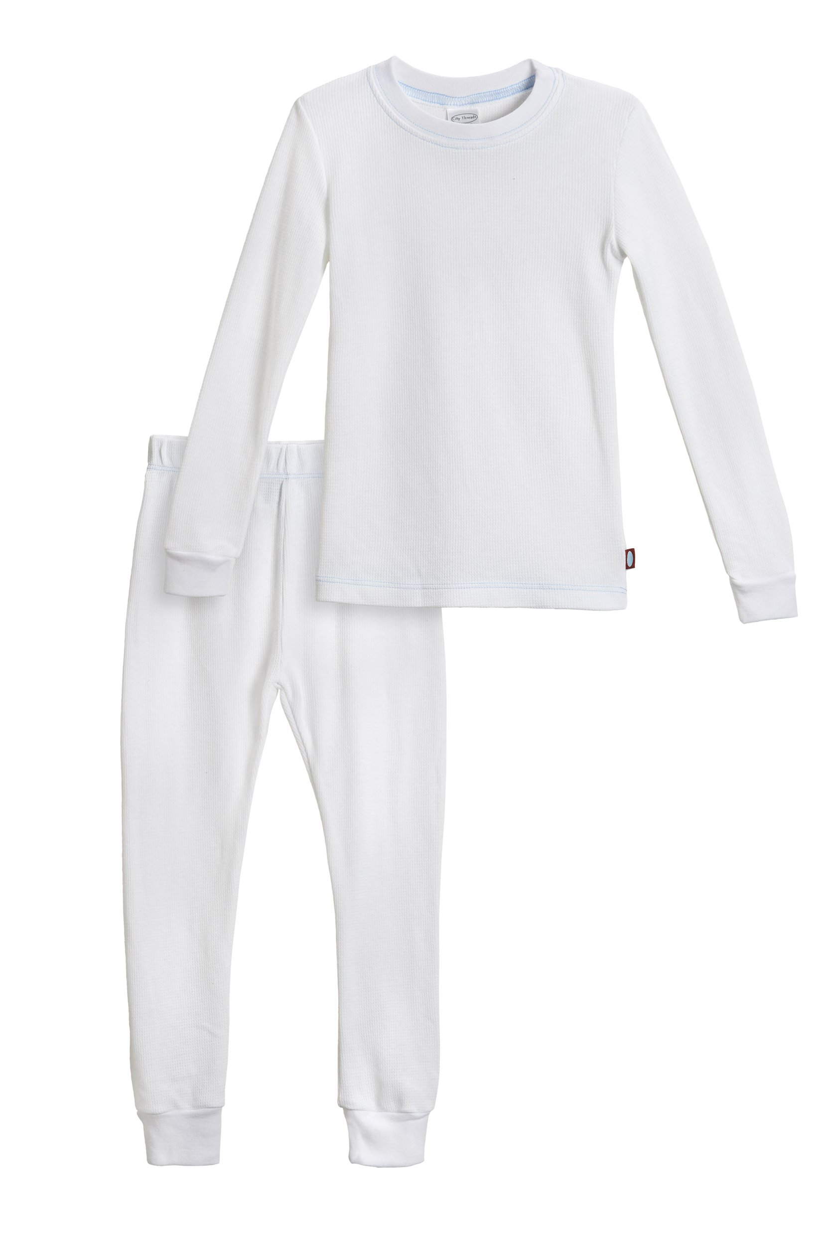 City Threads Baby Boys Thermal Underwear Set Perfect for Sensitive Skin SPD Sensory Friendly Base Layer Thermal Wear Cotton Ski Clothing for Kids Comfortable Ultra Soft, White- 9/12M