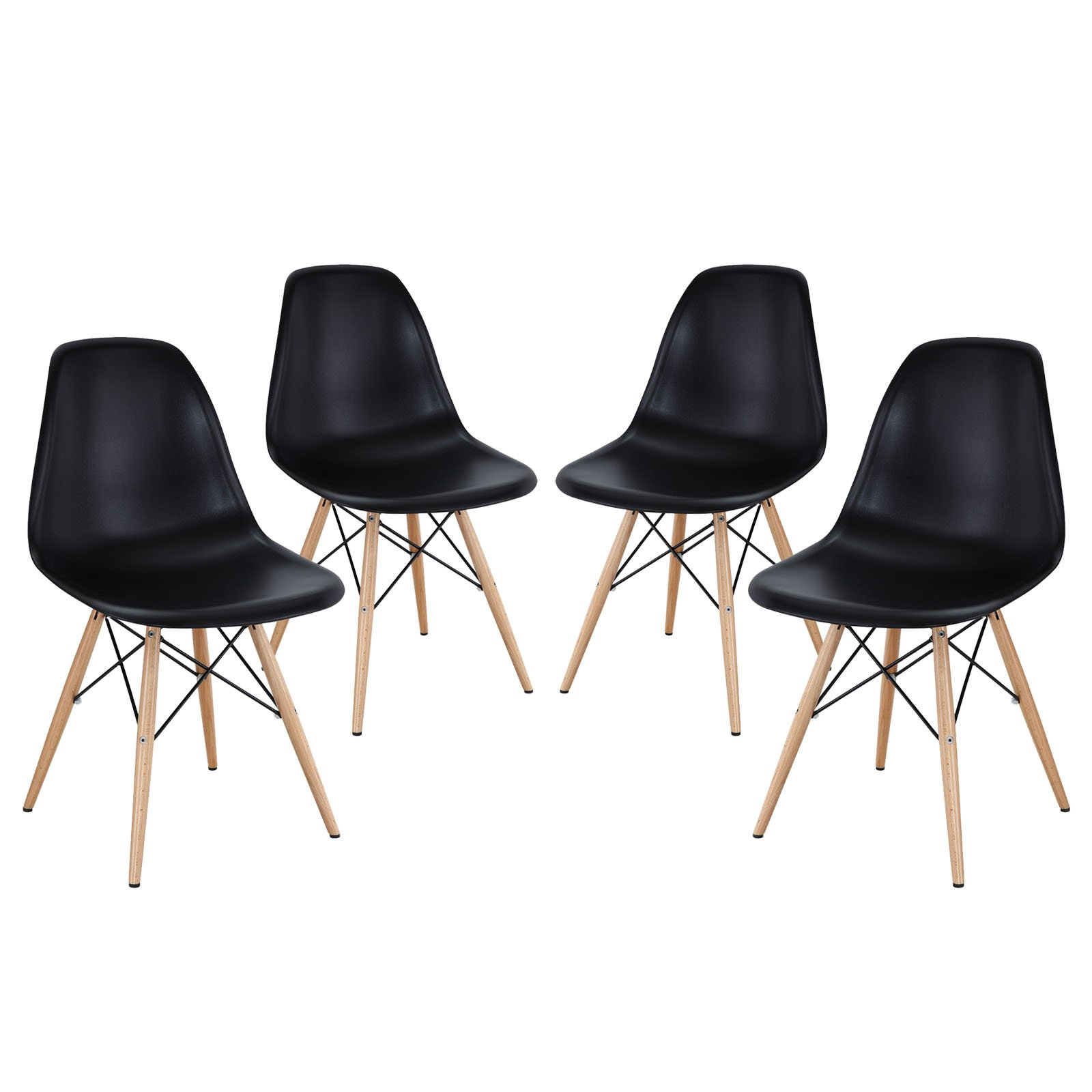 Modway Pyramid Mid-Century Modern with Natural Wood Legs, Four Dining Side Chairs, Black