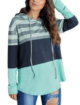 Wildtrest Womens Striped Color Block Pullover Hoodies Long Sleeve Drawstring Sweatshirts