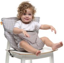 Baby-to-Love Pocket Chair, Baby Portable High Chair for Travel (White Stars)