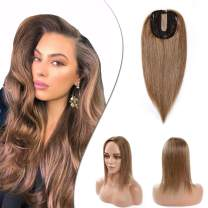 """Hair Toppers For Women Human Hair Topper Hairpieces Clip On Topper Silk Base Crown Toupee Clip In Wiglet Replacement For Thinning Hair Loss Cover White Hair Cover Gray Hair 14"""" 45g #06 Light Brown"""