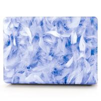 """HRH Sky Blue Feathers Pattern Laptop Body Shell Protective PC Hard Case for MacBook Air 11 inch 11.6""""(Models: A1370 and A1465)"""