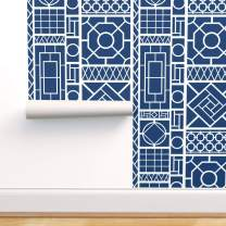 Spoonflower Peel and Stick Removable Wallpaper, Fretwork Trellis White Navy Blue Asian Palm Beach Lattice Inlay Grillwork Hollywood Regency Print, Self-Adhesive Wallpaper 12in x 24in Test Swatch