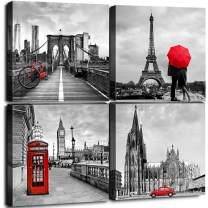 """Framed Canvas Wall Art Home Decor for Living Room Black and White Red City Building Architecture Pictures Modern Artwork Brooklyn Bridge Paris Bathroom Office Decorations Set of 4 Panels 24 × 24"""""""