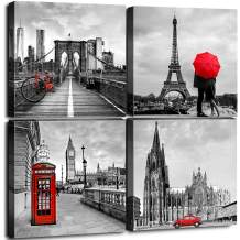 """Framed Canvas Wall Art Home Decor for Living Room Black and White Red City Building Architecture Pictures Modern Artwork Brooklyn Bridge Paris Bathroom Office Decorations Set of 4 Panels 32 × 32"""""""