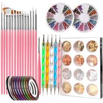 Nail Pen Designer, Teenitor Stamp Nail Art Tool with 15pcs Nail Painting Brushes, Nail Dotting Tool, Nail Foil, Manicure Tape, Color Rhinestones for Nails
