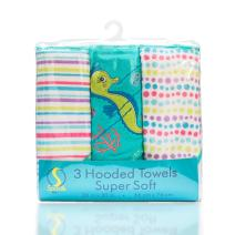 Spasilk 3 Pack Soft Terry Hooded Towel Set, Aqua Seahorse