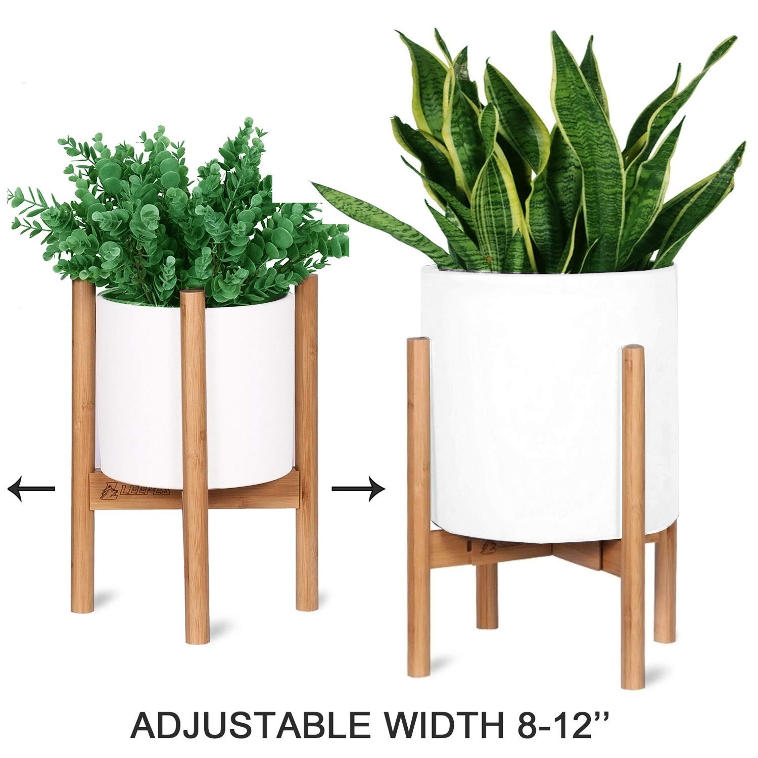 """LEEPES Bamboo Plant Stand Adjustable Width, Mid Century Modern Planter Holder Display Potted Rack Home Decor Indoor Suitable for 8-12"""" Pot (Plant and Pot NOT Included)"""
