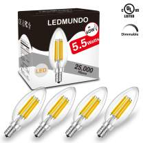 806 Lumen 5.5W Candelabra LED Bulbs Dimmable, 4000K Natural Daylight White Bulb, E12 LED Bulb 60W Equivalent, LED Chandelier Light Bulbs, no Flickering Filament LED Candle Bulb, UL Listed (4 Pack)
