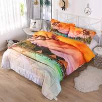 Sunset Cloud Coconut Beach Resort 3-Piece Comforter Sets - 3D Printed Space Themed - All-Season Down Alternative Quilted Duvet - - Includes 1 Comforter, 2 Pillow Shams (Vacation Place, Full)