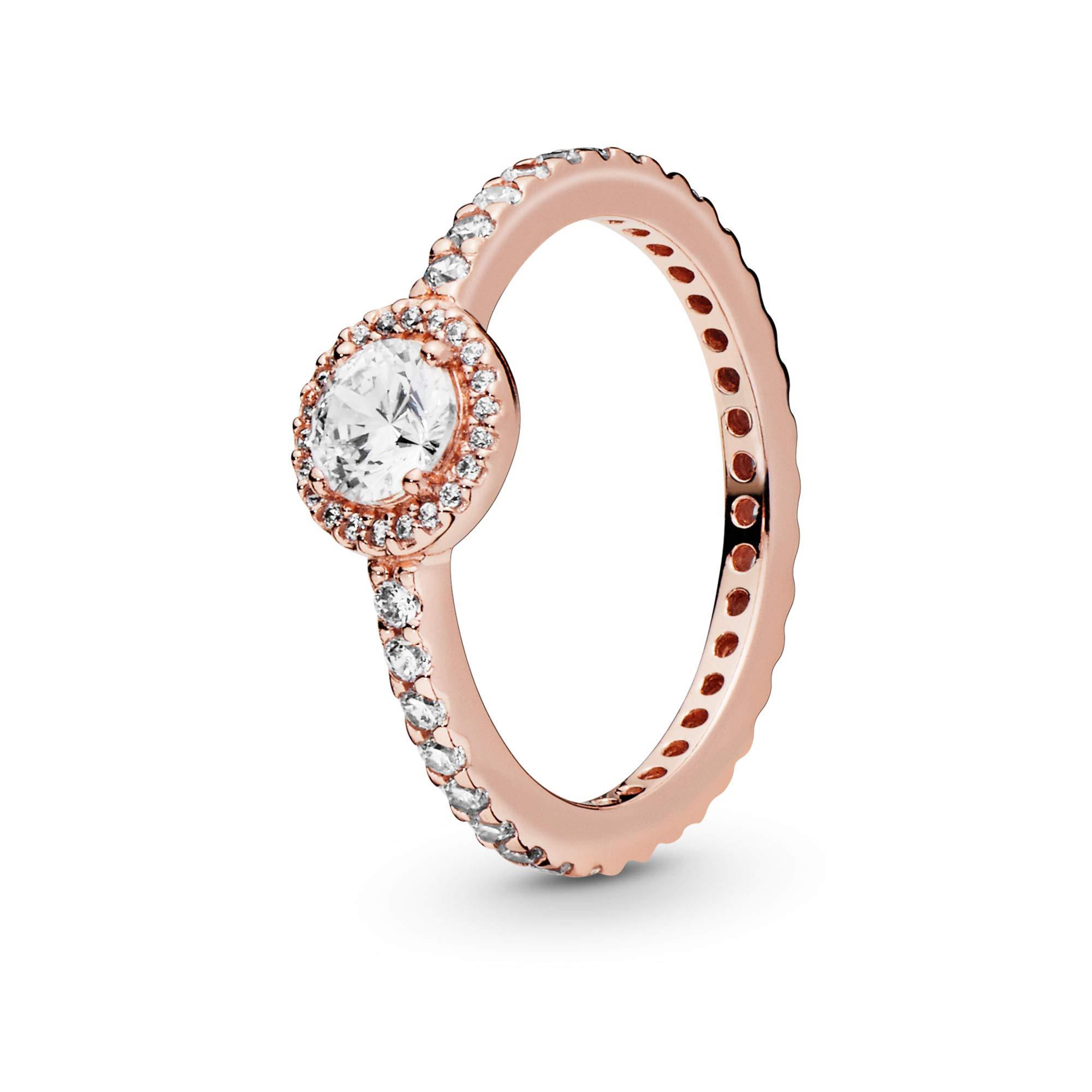 Pandora Jewelry Classic Sparkle Halo Cubic Zirconia Ring in Pandora Rose, Size 4.5