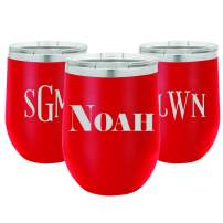 Personalized 12 Ounce Wine Tumbler | Engraved Stainless Steel Tumbler with Lid | BPA Free Insulated Travel Cup (Red)