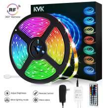 KVK LED Strip Light Waterproof 16.4ft RGB SMD 5050 LED Rope Lighting Color Changing Full Kit with 44-Keys IR Remote Controller, Power Supply Led Lights for Bedroom Home Kitchen Decoration