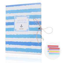 EKKONG Photo Album Scrapbook,Vintage Black Pages Memory Book,Wedding Photo Album,Anniversary Scrapbook,Travel Album (Anchor)