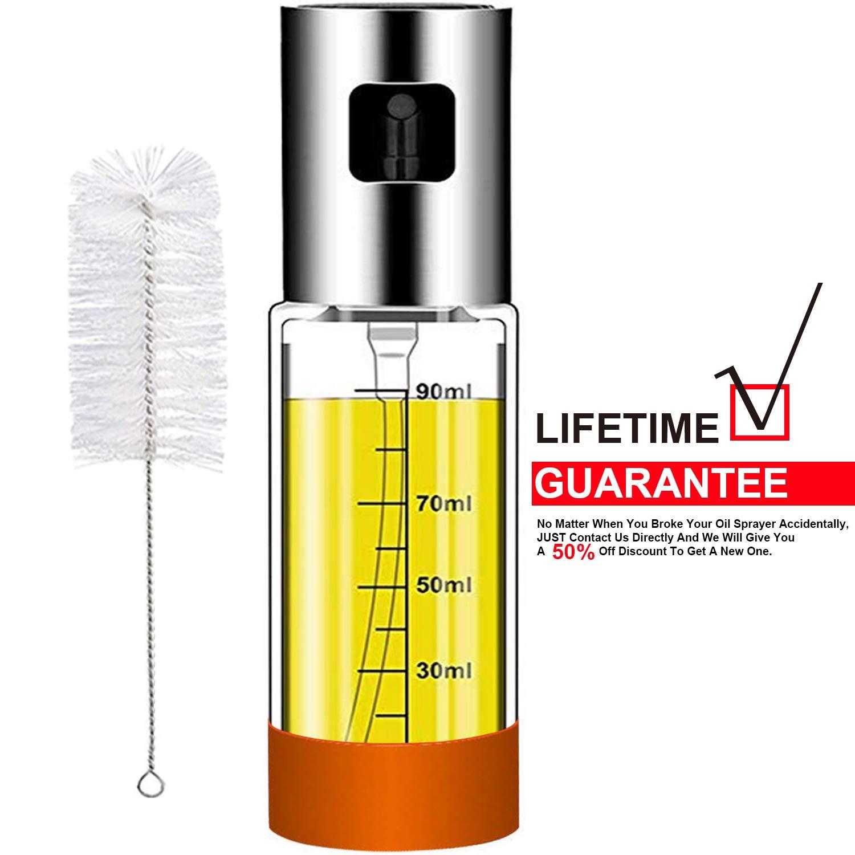 Olive Oil sprayer Mister for Cooking: 3.4-Ounce Capacity Food-grade Glass Bottle Vinegar Mist Spray Dispenser for BBQ Salad Baking Roasting Grilling Frying – Bonus a Cleaning Brush
