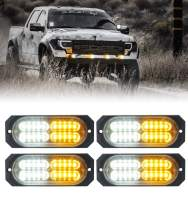 Xprite 20-LED Super Bright White & Amber Emergency Warning Caution Hazard Flashing Surface Mount Grille Strobe Light Bar for Car Van Truck SUV Pickup - 4PCs