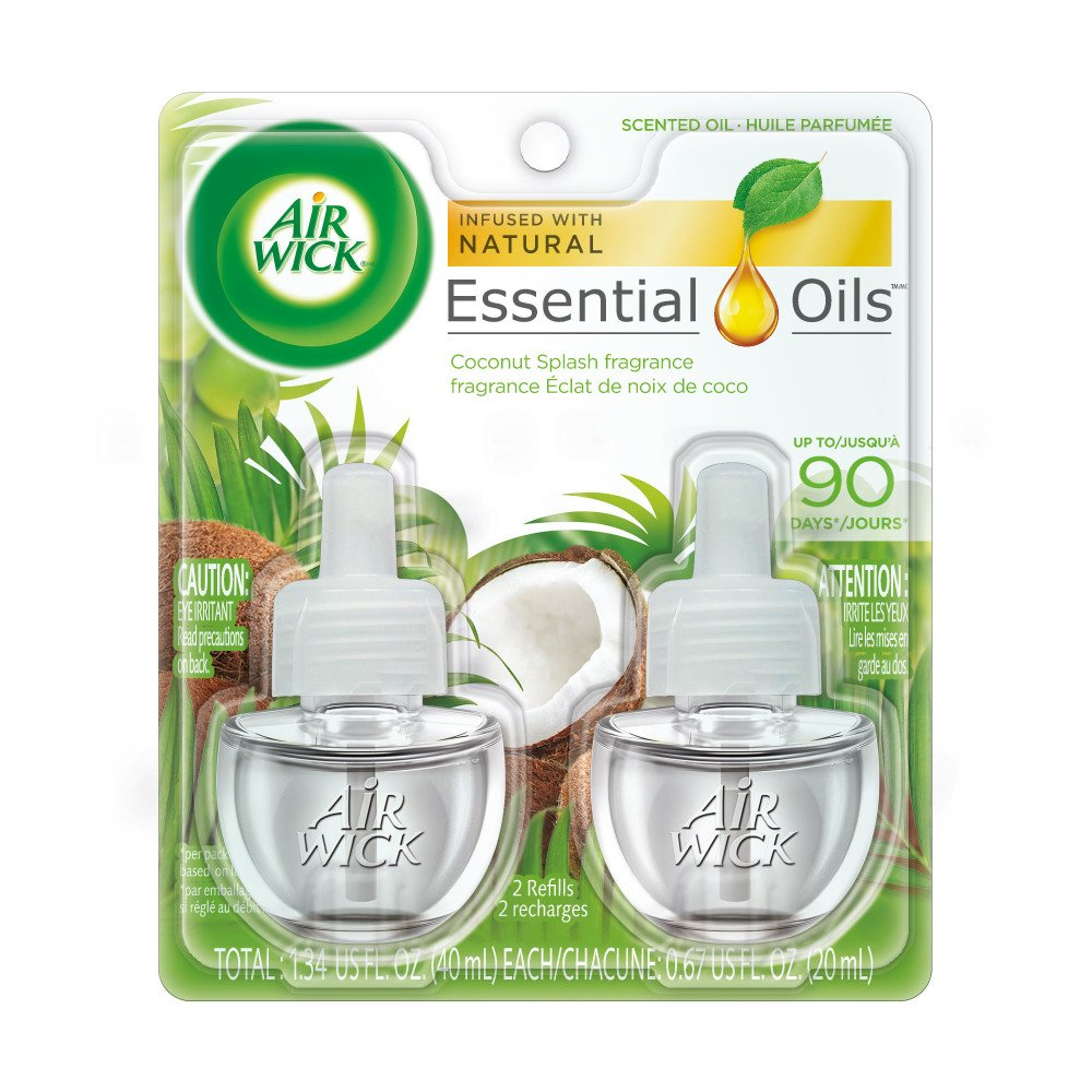 Air Wick plug in Scented Oil 2 Refills, Coconut Splash, (2x0.67oz), Essential Oils, Air Freshener