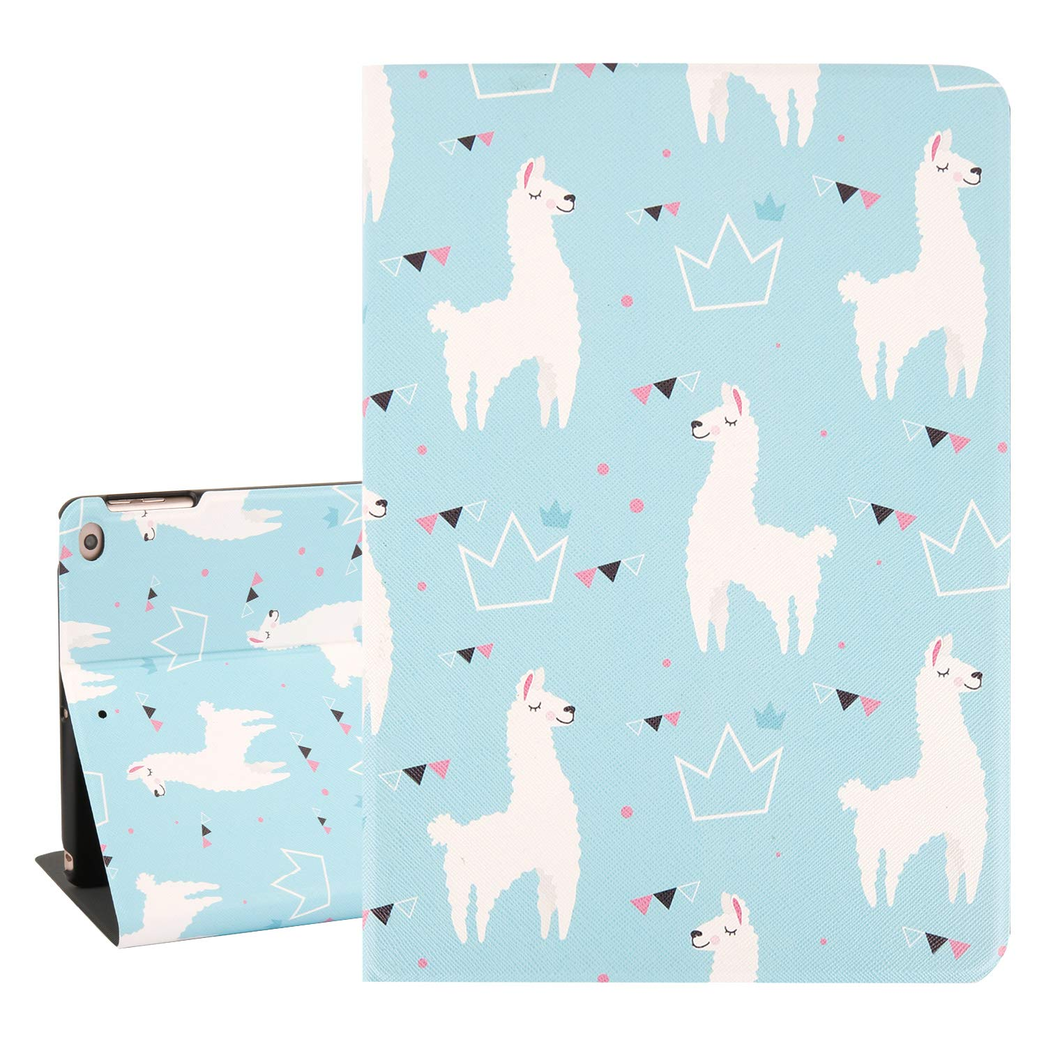 Hepix Cute iPad 9.7 Case for Kids Alpaca iPad Air 2 Cases, Slim Lightweight Protective 5th Generation iPad Case PU Leather Multi Angles Stand