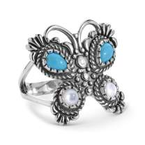 American West Sterling Silver Blue Turquoise and White Mother of Pearl Gemstone Butterfly Ring Size 05 to 10