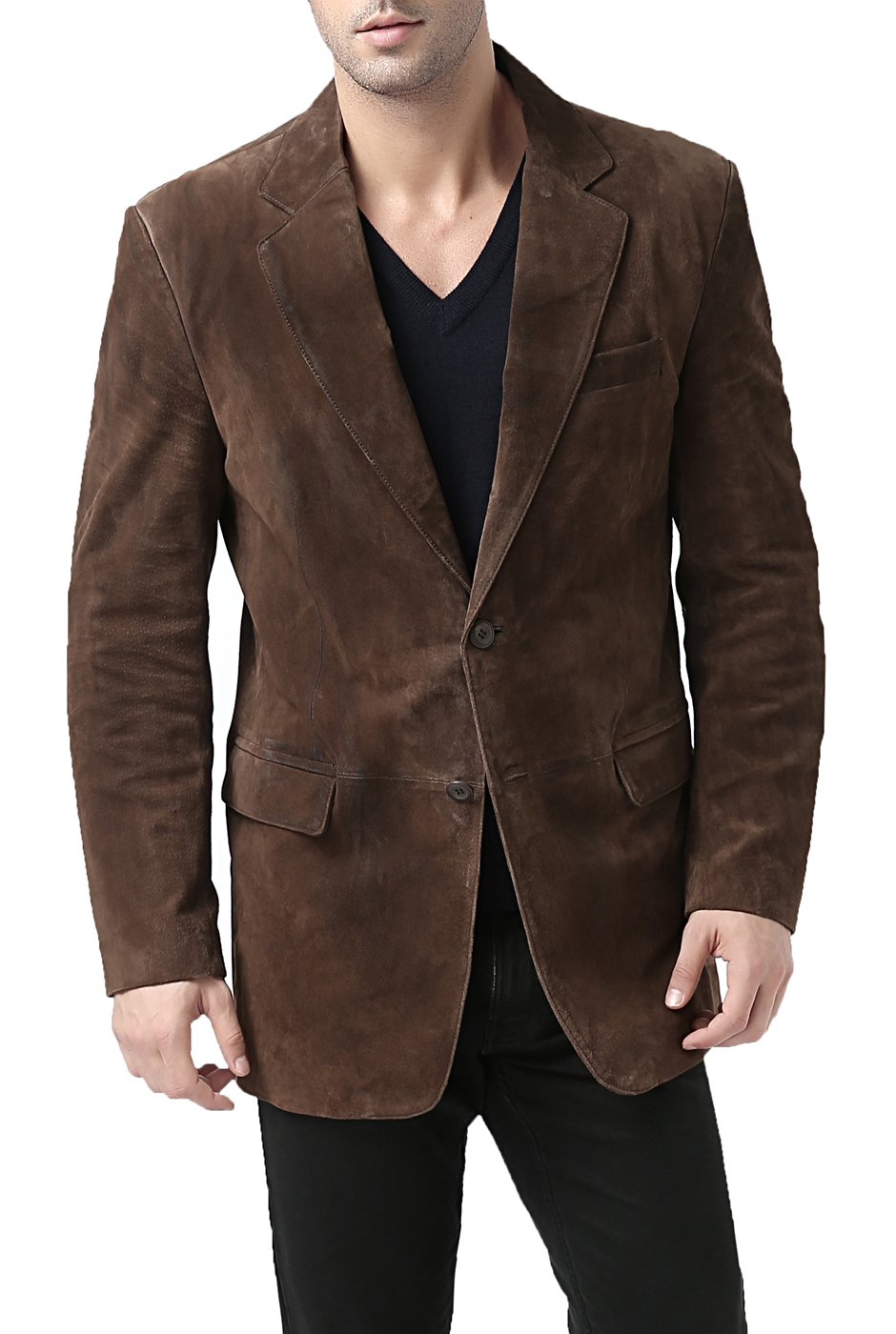 BGSD Men's Cliff Classic 2-Button Suede Leather Blazer (Regular Big & Tall and Short)