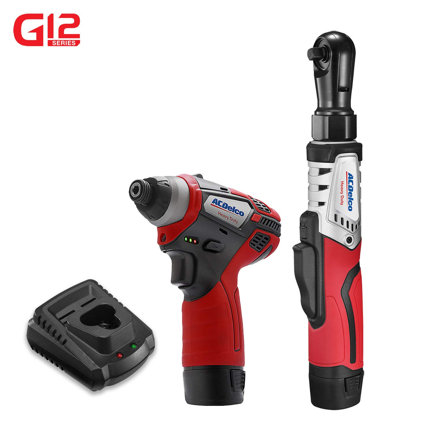 ACDelco G12 Series 2-Tool Combo Kit- 3/8 in. Brushless Ratchet Wrench + 1/4 in. Hex Power Impact Driver, two battery, charger,ARW12103- K2