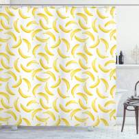 """Ambesonne Yellow and White Shower Curtain, Cartoon Style Bananas Pattern Exotic Fresh Ripe Fruit Healthy Tropical, Cloth Fabric Bathroom Decor Set with Hooks, 84"""" Long Extra, Yellow White"""