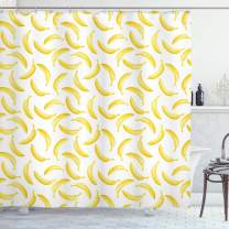 """Ambesonne Yellow and White Shower Curtain, Cartoon Style Bananas Pattern Exotic Fresh Ripe Fruit Healthy Tropical, Cloth Fabric Bathroom Decor Set with Hooks, 70"""" Long, Yellow White"""