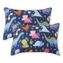 Uozzi Bedding 2 Pack Toddler Pillowcases, 19 x 14 inches Pillow Case for Boys, Girls, Infant, Kids, Ultra Soft and Breathable (Dinosaur, Navy).