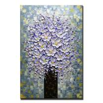 Desihum-Purple Flower Tree Oil Painting Contemporary Artwork Floral Stretched and Framed Wall Art for Bedroom 24x36 Inch