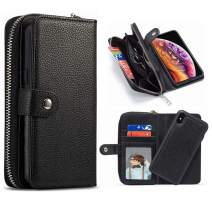iPhone 11 Pro Wallet Case,Hynice Women PU Leather Magnetic Detachable Case with Zipper Pocket Removable Shockproof Slim Back Cover for iPhone 11 Pro 5.8 inch(Lichi-Black, iPhone 11 Pro)