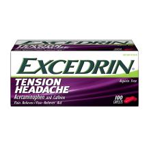 Excedrin Tension Headache Relief Caplets Without Aspirin for Head, Neck and Shoulder Pain Relief - 100 Count