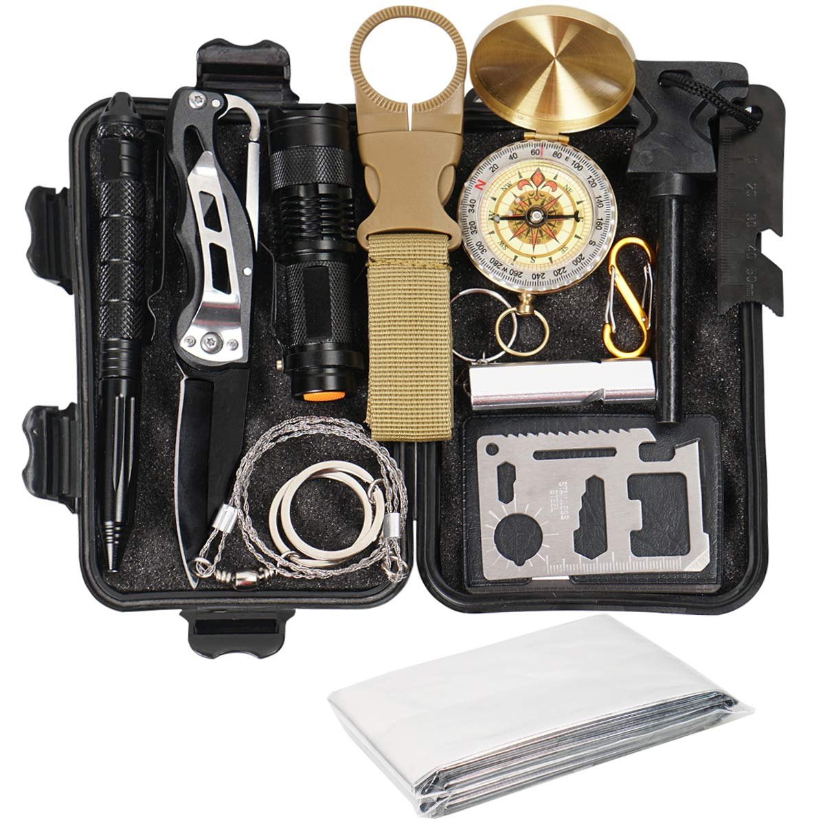 Your Choice Emergency Survival Kit 13 in 1, Camping Hunting Gear with Survival Blanket, Fire Starter, Whistle, Tactical Pen, Compass, Flashlight for Car Outdoor Adventures