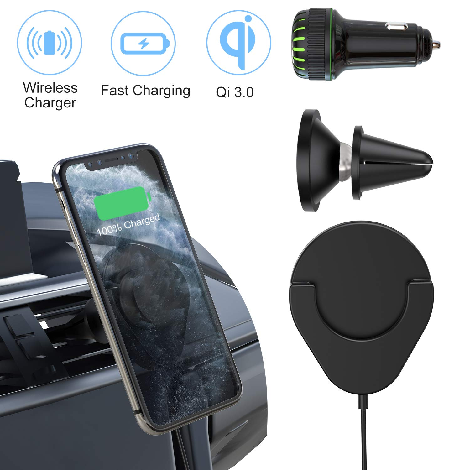 Wireless Grip Charger for Phone Stand, JUBOR 10W Max Fast Wireless Charger + 2 USB Ports QC 3.0 Car Adapter Compatible with iPhone 11 Pro Max/11 Pro/11/XS Max/XR/XS/X/8, Galaxy Note 10/S10/S9/S8