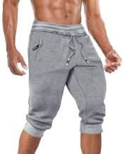BIYLACLESEN Men's 3/4 Joggers Shorts Below Knee Running Gym Capri Pants Zipper Pockets