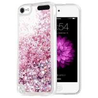 Caka iPod Touch 5 6 7 Case, iPod Touch 7 Glitter Case Liquid Series Luxury Fashion Bling Flowing Liquid Floating Sparkle Glitter Girly Soft TPU Case for iPod Touch 5 6 7 (Rose Gold)