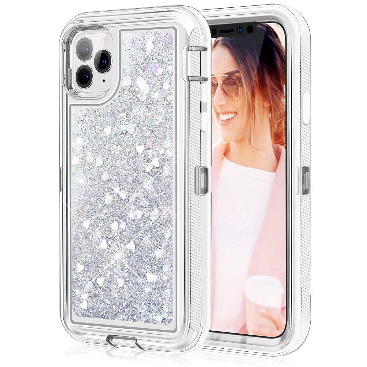 Caka Glitter Case for iPhone 11 Pro Glitter Case Protective Shockproof Liquid Bling Sparkle Heavy Duty Flowing Love Bumper Clear Women Girl Case for iPhone 11 Pro (5.8 inch, 2019)(Love Silver)
