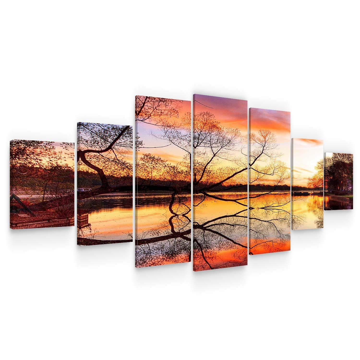 Startonight Huge Canvas Wall Art Gold Sunset On The Lake - Large Framed Set of 7 40 x 95 Inches