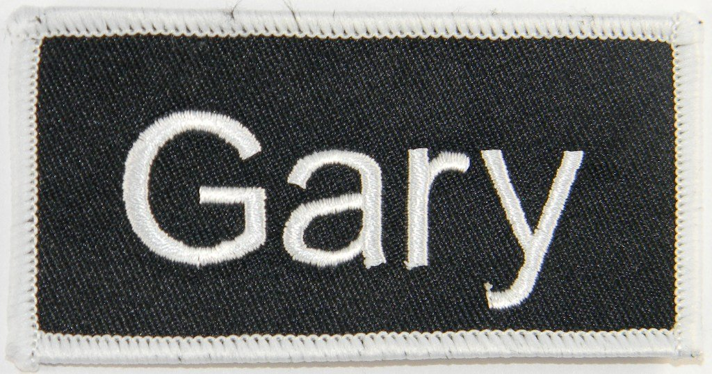 Gary Name Tag Patch Uniform ID Work Shirt Badge Embroidered Iron On Applique