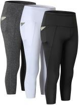 Yuerlian Women's High Waist Out Pocket Yoga Pants Workout Leggings 3 Pack