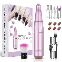 K KERNOWO Electric Nail Drill Machine,Portable Efile Nail Drill For Acrylic Nails, 20pcs Professional Acrylic Nail Drill Kit For Home Manicure Pedicure Salon