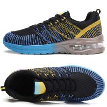 TSIODFO Women Sport Running Tennis Walking Shoes mesh Breathable Comfort Ladies Cushion Gym Athletic Jogging Sneakers Black Blue Size 5