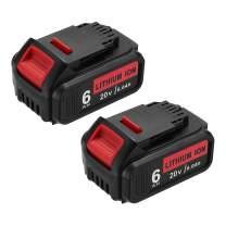 Abaige 6.0Ah Replacement Dewalt 20V Battery, DCB206 DCB205 DCB204, Replacement Lithium Ion Batteries for Dewalt 20V Power Tools - DCB200 DCB206-2 DCB204 DCB204BT-2 DCB203 DCB201 DCB180(2 PACK)