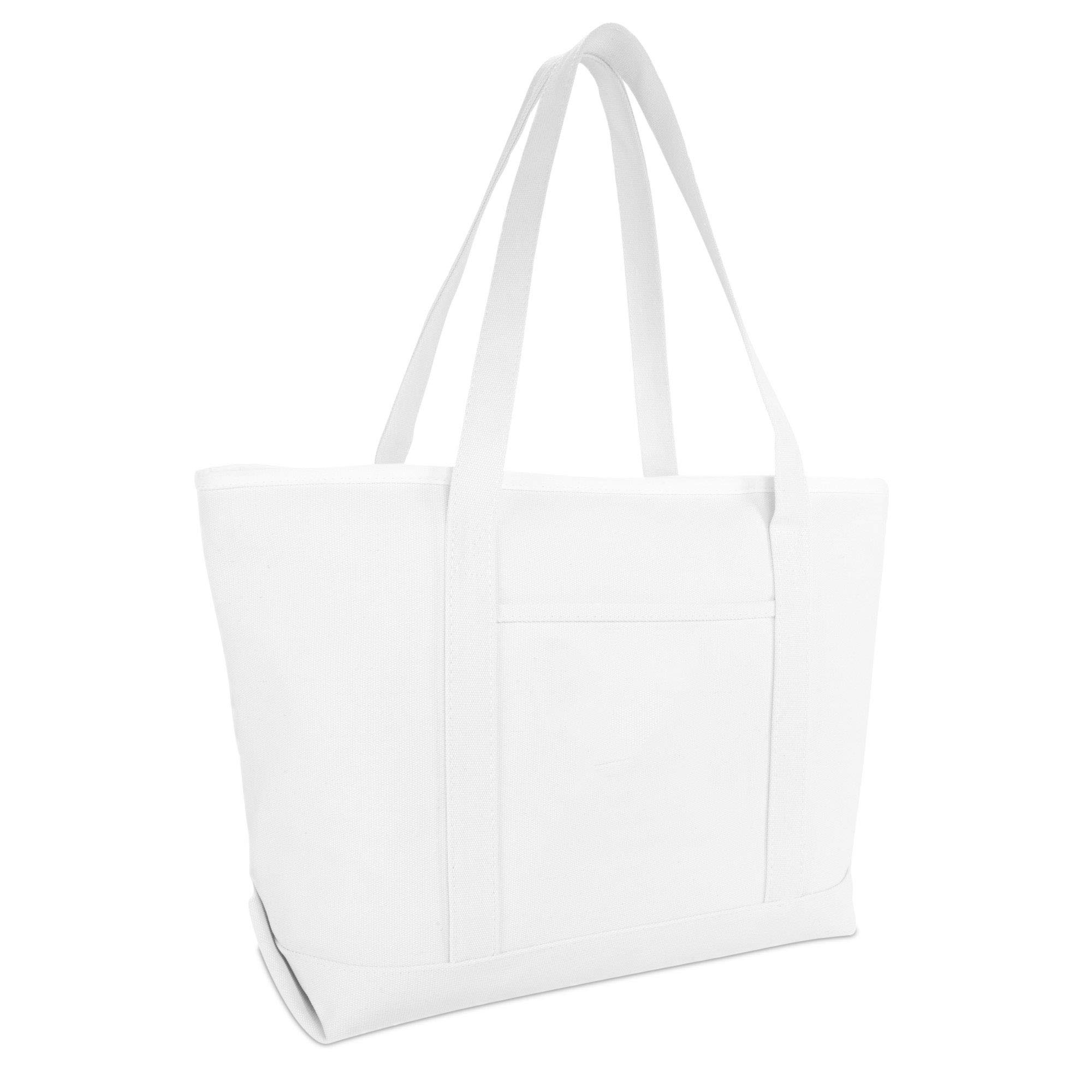 "DALIX 23"" Premium 24 oz. Cotton Canvas Shopping Tote Bag in White"