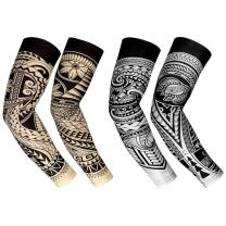 RoryTory Cooling Arm Elbow Compression Sleeve Sun Guard Tattoo Sleeves Cover Up - for Outdoor Cycling Golfing Basketball Baseball Tennis Soccer Lymphedema - 2 Pairs Various Designs
